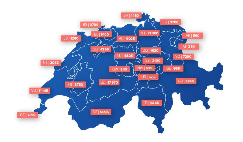 Demenz in der Schweiz in Zahlen nach Kanton